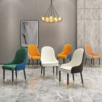 Set of 4 SAYRE Dining Chairs, Grey & White PU Leather
